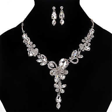 cheap Jewelry Sets-Women's Crystal Jewelry Set Crystal, Rhinestone Flower Ladies, Personalized, Vintage, Euramerican Include Necklace / Earrings Gold / Silver / Gray For Wedding Party Special Occasion Daily
