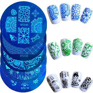 1buc vânzare la cald unghii placă de ambutisare moda design colorat fluture flori minunat șabloane de design manichiură STZ-01-10