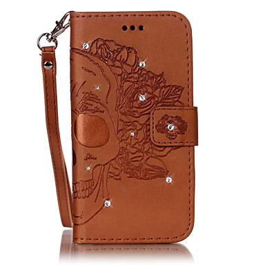 Недорогие Чехлы и кейсы для Galaxy S4 Mini-Кейс для Назначение SSamsung Galaxy S7 edge / S7 / S6 edge Бумажник для карт / Стразы / со стендом Чехол Черепа Твердый Кожа PU