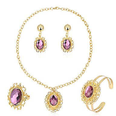 Pentru femei Seturi de bijuterii Cercei / brățară Colier / Inel La modă Euramerican Hârtie Reciclabilă Aliaj Oval Shape Geometric Shape 1