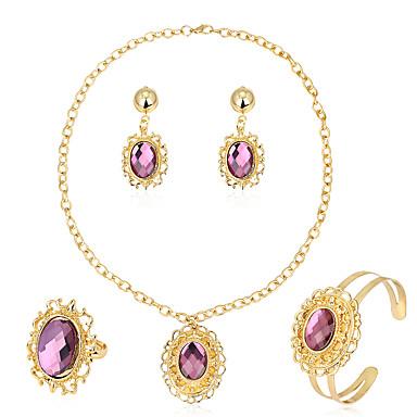 Dames Sieraden Set Oorbellen / armband Ketting / Ring Modieus Euramerican Glas Legering Ovalen vorm Geometrische vorm 1 Ketting 1 Paar