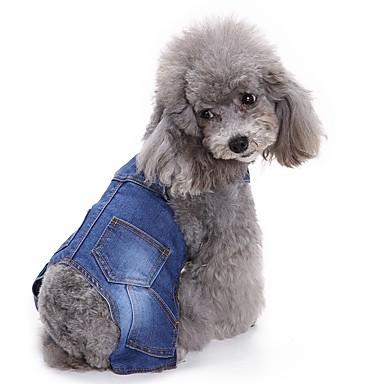 قط كلب حللا ملابس الكلاب بريطاني أزرق الدنيم كوستيوم للحيوانات الأليفة للرجال للمرأة كاجوال/يومي ريفي موضة