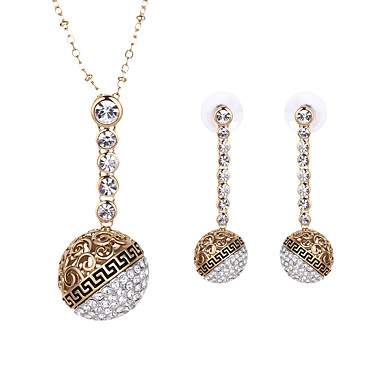 Νυφικό κόσμημα σετ Στρας Κράμα Circle Shape Χρυσό 1 Ζευγάρι σκουλαρίκια Κολιέ Για Καθημερινά 1set Δώρα Γάμου