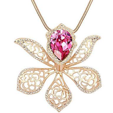 Damskie Naszyjniki z wisiorkami Kryształ Flower Shape Spersonalizowane Kwiatowy Kwiat Kwiaty Modny Biżuteria Na Ślub Impreza Urodziny