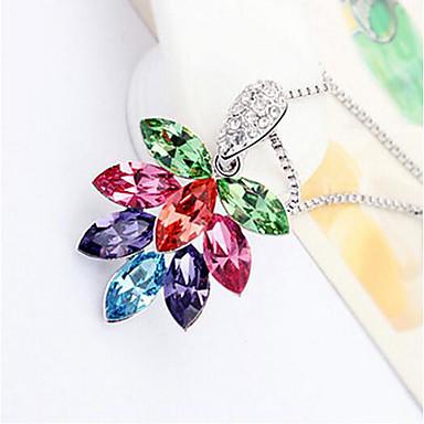 Damskie Naszyjniki z wisiorkami Kryształ Flower Shape Kwiatowy Kwiat Kwiaty Płatki Biżuteria Na