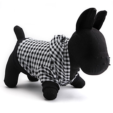 Cat Dog Hoodie Dog Clothes Plaid/Check Black Cotton Costume For Pets