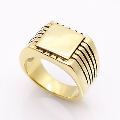 للرجال خاتم مخصص هندسي قديم طبقة مزدوجة موضة Rock euramerican في الصلب التيتانيوم قطع مربع مجوهرات هدايا عيد الميلاد حزب مناسبة خاصة تخرج