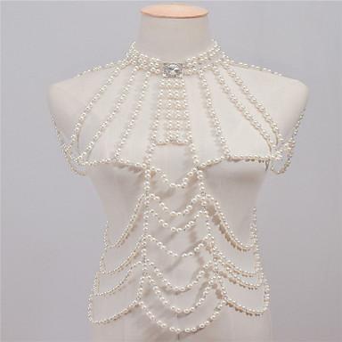 Damskie Biżuteria Łańcuch nadwozia / Belly Chain Imitacja pereł Kryształ górski Stop White Nieregularny Vintage Ręcznie Wykonane Modny