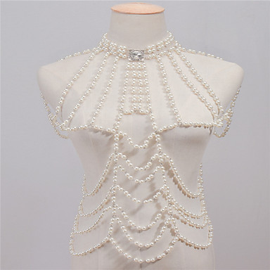 preiswerte Körperschmuck-Perlen Stapelbar Körper-Kette / Bauchkette Künstliche Perle damas, Retro, Modisch Damen Weiß Körperschmuck Für Normal / Strass