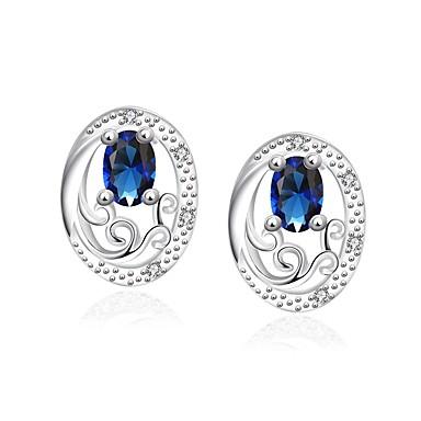 للمرأة فتيات أقراط الزر كريستال تصميم دائري تصفيح بطلاء الفضة Oval Shape مجوهرات من أجل زفاف حزب يوميا فضفاض