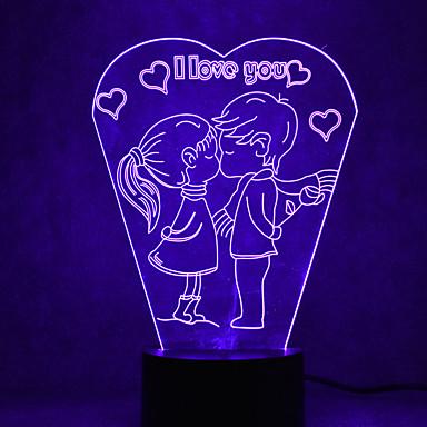 αγάπη άγγιγμα αφής 3d οδήγησε νυχτερινό φως 7colorful φωτισμός ατμόσφαιρα διακόσμηση νέος φωτισμός φωτός