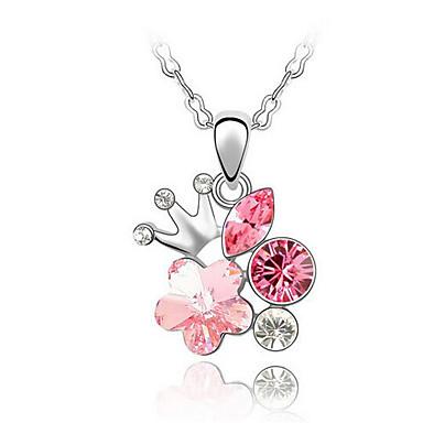 Naisten Riipus-kaulakorut Kristalli Flower Shape Yksilöllinen Kukka-aihe Kukka Kukkaset söpö tyyli Euramerican Korut Käyttötarkoitus Häät