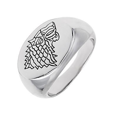 Band Ring - Geometric Shape Wilk Zwierzę Okragły Unikalny Logo Vintage euroamerykańskiej White Pierścień Na Specjalne okazje Halloween