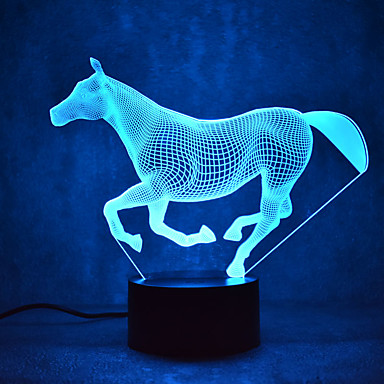 الحصان اللمس يعتم 3d ليد ضوء الليل 7 الملونة الديكور جو مصباح الجدة الإضاءة الخفيفة