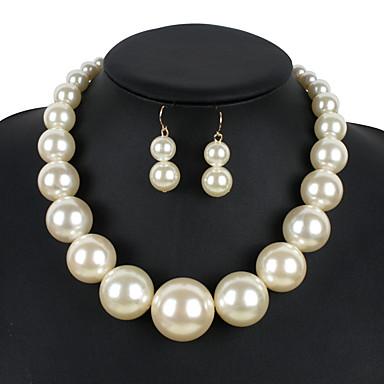 Pentru femei Perle Set bijuterii 1 Colier / 1 Pereche de Cercei - Euramerican Rotund Bej / Rosu / Roșu Închis Seturi de bijuterii Pentru