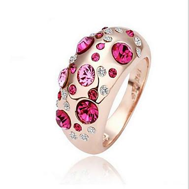 Pentru femei Inel Argintiu Roz trandafiriu Trandafiriu Cristal Aliaj Rotund Euramerican Modă Petrecere Zilnic Casual Costum de bijuterii