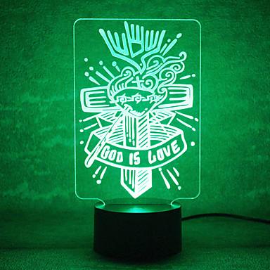 المهرجانات اتصال إله يعتم 3D أدى ضوء الليل 7colorful الديكور مصباح إضاءة الغلاف الجوي الجدة ضوء المهرجانات
