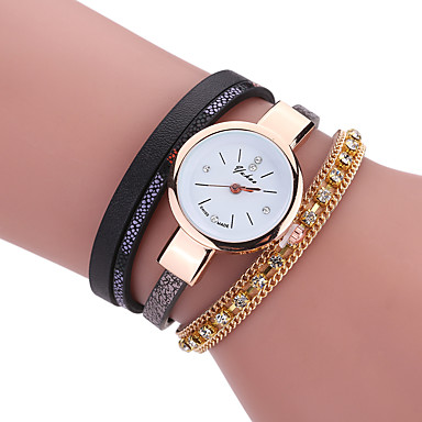Damskie Sztuczny Diamant Zegarek Zegarek na bransoletce Kwarcowy Skóra Pasmo Na co dzień Czarny Biały Niebieski Czerwony Brązowy
