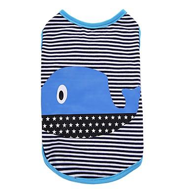 Chien Tee-shirt Gilet Vêtements pour Chien Soirée Décontracté / Quotidien Anniversaire Vacances Mode Sportif Rayure Vert Bleu Costume