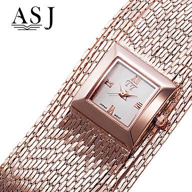 ASJ Dames Dress horloge Japans Kwarts Koper Band Elegant Zilver Goud Goud Rose