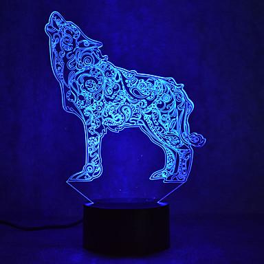 wolf touch dimming 3d condus noapte lumina 7colorful atmosfera de decorare lumina noutate lumina de iluminat