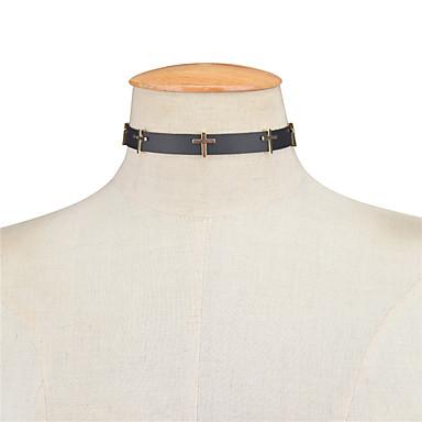 Pentru femei Σταυρός Personalizat Vintage În Cruce Euramerican Coliere Choker Bijuterii Piele  Aliaj Coliere Choker . Petrecere Ocazie
