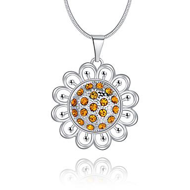 Γυναικεία Circle Shape Πολυτέλεια Μοναδικό Λογότυπο Κρεμαστό Κρεμαστά Κολιέ Συνθετικό Diamond Ασήμι Στερλίνας Στρας Προσομειωμένο διαμάντι