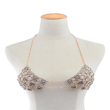 نساء مجوهرات الجسم سلسلة الجسم / سلسلة البطن موضة حجر الراين سبيكة Geometric Shape ذهبي فضي مجوهرات إلى فضفاض 1PC