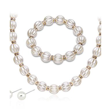 Damen Perle Strass Schmuck-Set 1 Halskette 1 Paar Ohrringe - Euramerican Modisch Geometrische Form Tropfen Schmuckset Halskette Für