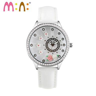 Dames Modieus horloge Japans Kwarts / Leer Band Vrijetijdsschoenen Wit Roze