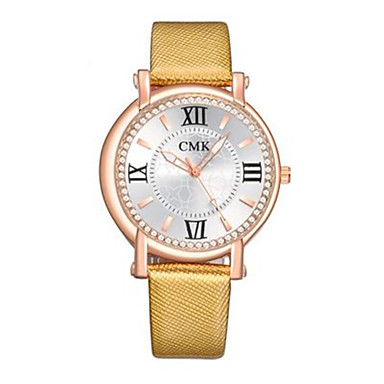 Dames Modieus horloge Kwarts Leer Band Blauw Rood Goud