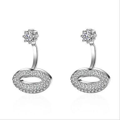 Vidali Küpeler Eşsiz Tasarım Zirkon Platin Kaplama Oval Shape Gümüş Mücevher Için Doğumgünü 1 çift