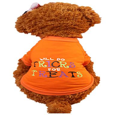 كلب T-skjorte ملابس الكلاب متنفس موضة حرف وعدد برتقالي كوستيوم للحيوانات الأليفة