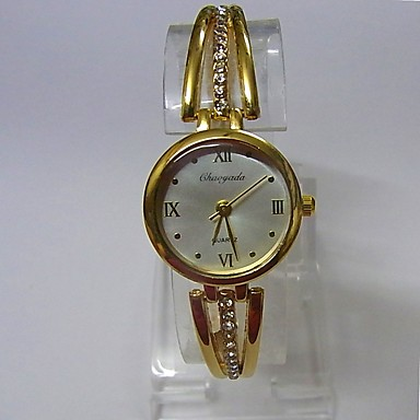 Damen Armband-Uhr Quartz Legierung Band Glanz Bequem Gold