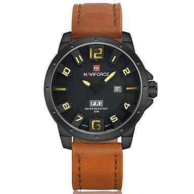 NAVIFORCE Herren Sportuhr Modeuhr Armbanduhr Armbanduhren für den Alltag Quartz Kalender PU Band Cool Bequem Luxuriös Schwarz Braun