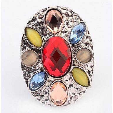 Dames Ring Bandring Synthetische Diamant Wit Koffie Rood Groen Glas Legering Ovaal Gepersonaliseerde Meetkundig Uniek ontwerp Logostijl