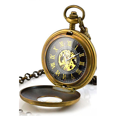 للرجال ساعة جيب ووتش الميكانيكية كوارتز داخل الساعة ميكانيكي يدوي أشابة فرقة برونز