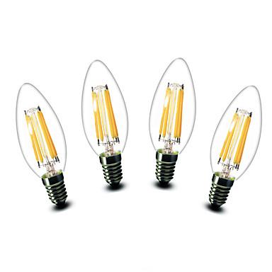 4.5W E14 أضواء شموغ LED C35 6 COB 500 lm أبيض دافئ ديكور AC 220-240 V 4 قطع
