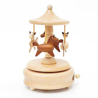 الصندوق الموسيقي ألعاب جذاب دائري مرح الذهاب جولة خشب قطع للجنسين هدية