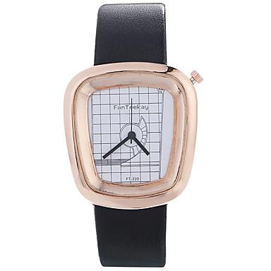 Erkek Moda Saat Bilek Saati Benzersiz Yaratıcı İzle Gündelik Saatler Çince Quartz / ahşap Deri Bant Havalı Günlük Siyah Beyaz Mavi