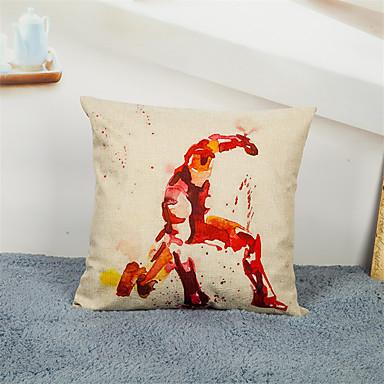 1 Stück Leinen Kissenbezug, Grafik-Drucke Schmuck & Bestickt Freizeit Akzent dekorativen Büro/Geschäftlich