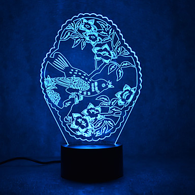 1 piesă 3D Nightlight Senzor Intensitate Luminoasă Reglabilă Rezistent la apă Schimbare - Culoare USD Multicolor ABS