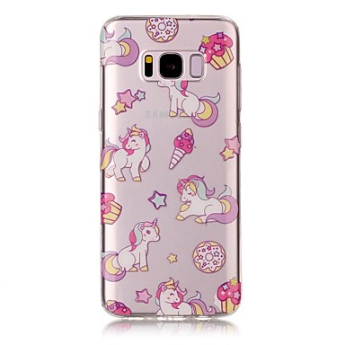 Pouzdro Uyumluluk Samsung Galaxy S8 Plus S8 IMD Şeffaf Temalı Arka Kılıf Tek boynuzlu Yumuşak TPU için S8 S8 Plus S7 edge S7 S6 edge S6 S5