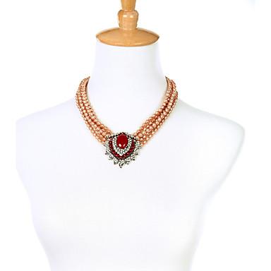 Pentru femei Toroane Coliere Cristal Design Unic Personalizat Euramerican stil minimalist Rosu Bijuterii Pentru Nuntă Petrecere 1 buc