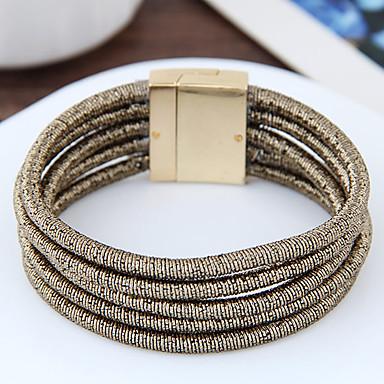 Pentru femei Bratari Wrap La modă Nailon Aliaj Round Shape Auriu Negru Argintiu Maro Bijuterii Pentru Petrecere 1 buc