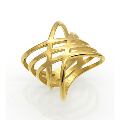 Bărbați Pentru femei Verighete Personalizat Γεωμετρικά Design Unic Vintage Strat dublu Modă Stâncă Euramerican Oțel titan 18K de aur
