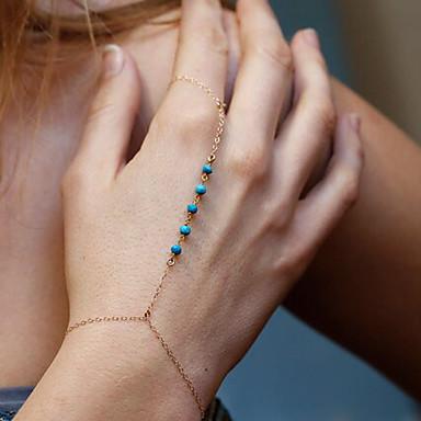 Naisten Ranneketjut Rannekoru-sormukset Korut Bohemia Style Käsintehty Turkoosi Metalliseos Circle Shape Kulta Hopea Korut Varten