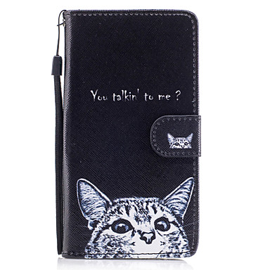 Maska Pentru Samsung Galaxy J5 (2016) Portofel Titluar Card Cu Stand Întoarce Magnetic Model Corp Plin Pisica Greu PU Piele pentru J5
