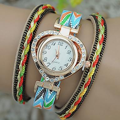 Dames Modieus horloge Armbandhorloge Kwarts Leer Band Heart Shape Zwart Wit Blauw Rood Marineblauw