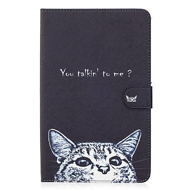 لسامسونج غالاكسي تاب e 9.6 حالة تغطية القط نمط رسمت بطاقة الدعامات محفظة بو الجلد المواد شقة واقية قذيفة